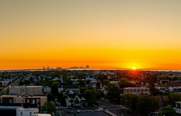 Picture sea, the sky, water, the sun, clouds, sunset, city, the city, the building, home, the …
