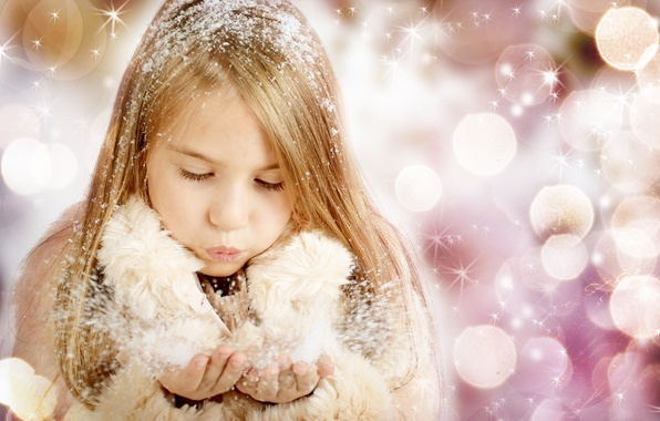 Picture snow, children, child, New year, new year, happy, snow, bokeh, bokeh, merry christmas, child, Merry …