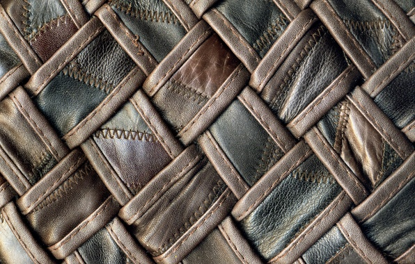 Picture texture, leather, black, thread, brown, braided