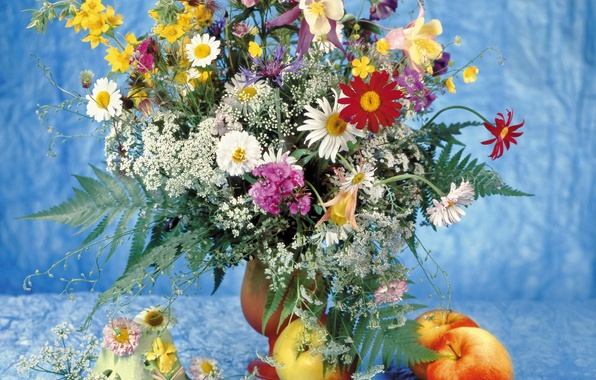 Picture flowers, photo, apples, chamomile, bouquet, still life, clove, Daisy