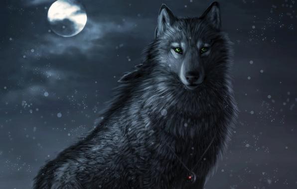 Picture snow, night, the moon, Wolf, amulet, art, green eyes, Dark_Sheyn, Winter night
