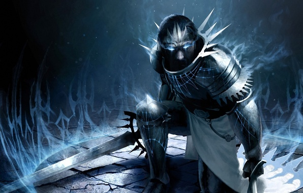 Picture weapons, magic, sword, art, male, armor, Magic, The Gathering
