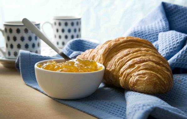 Picture tea, coffee, food, Breakfast, Cup, food, sweet, sweet, coffee, growing, breakfast, croissant, tea, cups