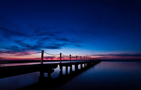 Picture sea, the sky, water, clouds, bridge, nature, river, background, pink, widescreen, Wallpaper, Board, the fence, …