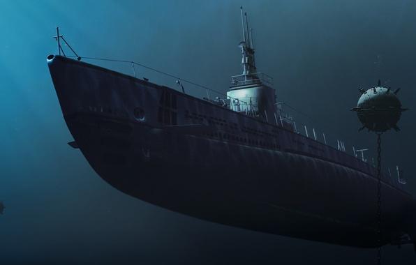 Picture figure, art, submarine, mines, submarine