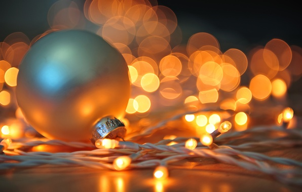 Picture winter, white, light, lights, toy, ball, New Year, Christmas, garland, Christmas, holidays, bokeh, New Year, …