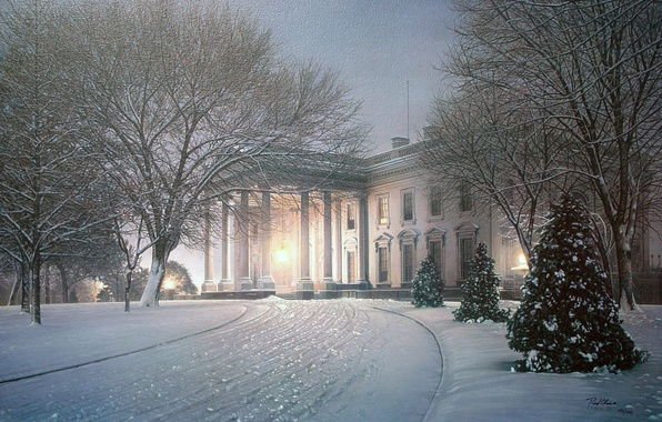 Picture winter, light, snow, trees, house, Park, figure, Villa, tree, picture, the evening, lighting, art, drawings, …