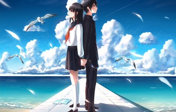 Picture the sky, girl, clouds, the ocean, seagulls, anime, art, form, guy, students, phantania