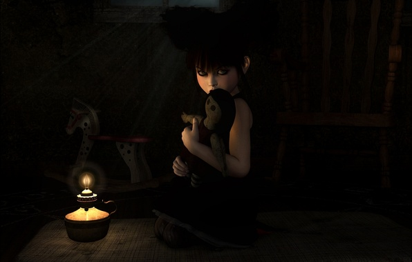 Picture loneliness, fire, toy, dark, lamp, candle, art, girl