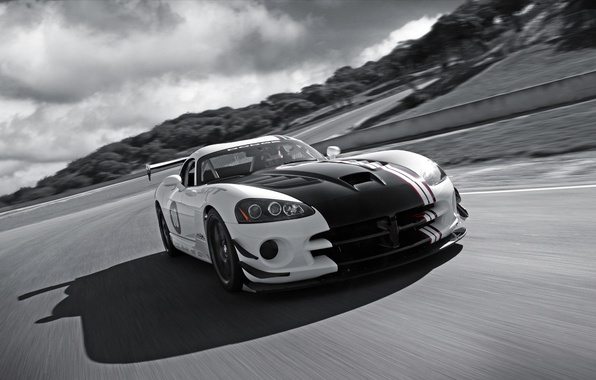 Picture road, clouds, black and white, Dodge, Viper, srt10