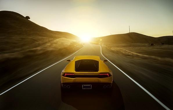 Picture Lamborghini, yellow, sunset, rear, LP 610-4, Huracan, LB724