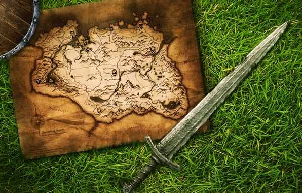 Picture road, the way, map, sword, skyrim, Skyrim