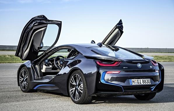 Picture BMW, future, black, road, sky, back, 2014, lambo door