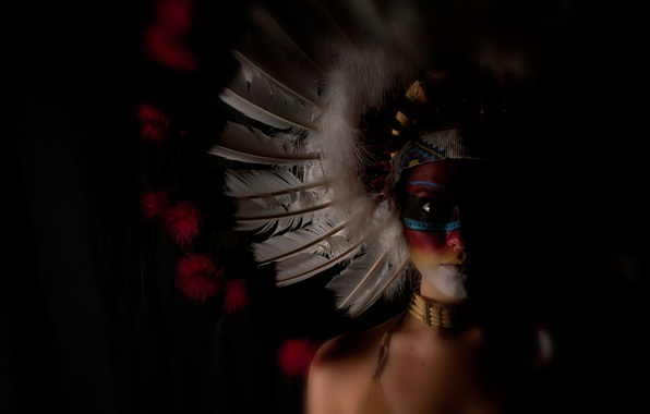 Picture girl, face, background, feathers, paint, headdress