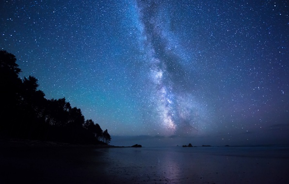 Picture sea, stars, night, shore, the milky way, starry sky