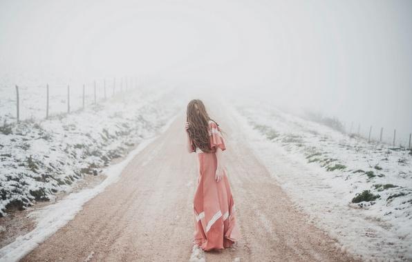 Picture girl, woman, snow, model, fog, portrait