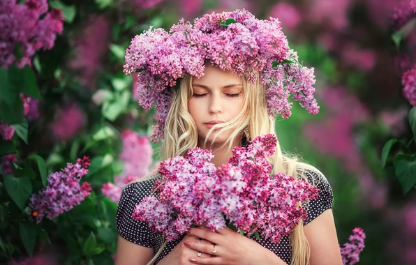 Picture girl, flowers, portrait, wreath, lilac, Lilac dreams