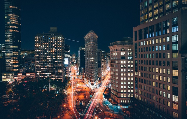 Picture light, night, the city, lights, home, excerpt, USA, New York, street