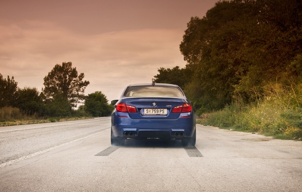 Picture road, the sky, clouds, BMW, BMW, blue, blue, F10