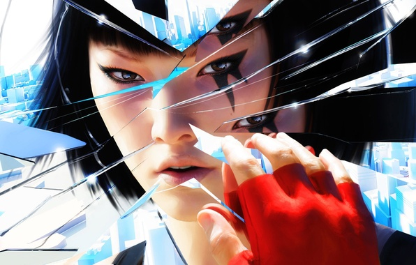 Picture girl, fragments, mirror, mirrors edge