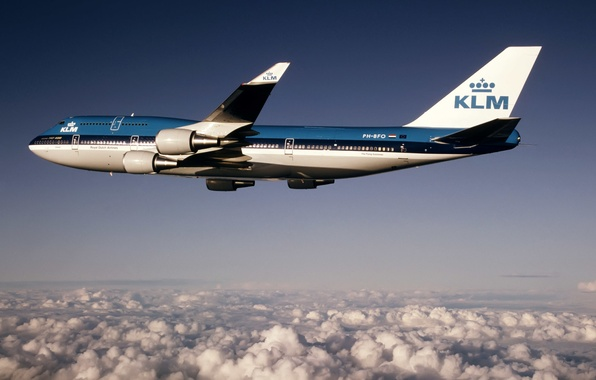 Picture height, Boeing, flight, Boeing, 400, B-747, KLM, AIRFRANCE