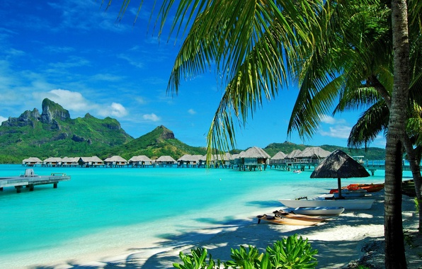 Picture sand, sea, beach, the sky, Islands, landscape, mountains, palm trees, Bungalow, Hawaii, nature.