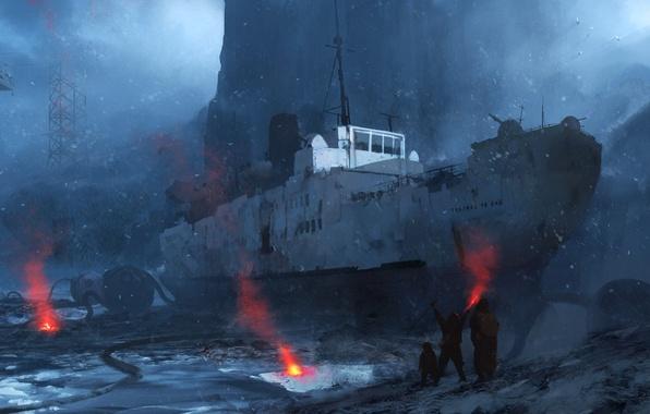 Picture snow, mountains, stones, rocks, shore, ship, helicopter, art, survivors, signal lights