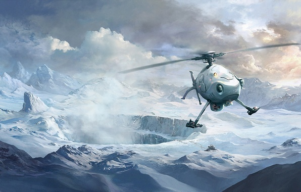 Picture winter, clouds, snow, mountains, art, helicopter