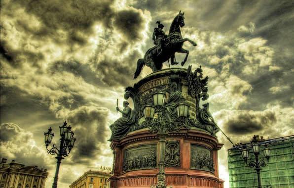Picture the bronze horseman, Petersburg, St., St. Isaac's square