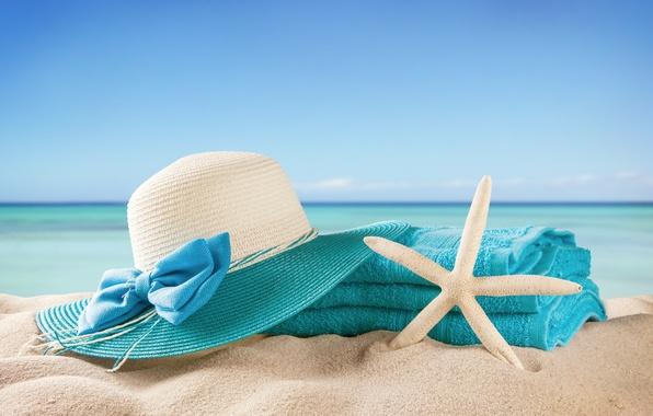 Picture sand, sea, beach, summer, the sun, stay, towel, hat, summer, beach, vacation, sea, sun, vacation, …