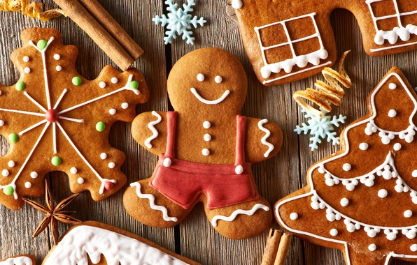 Picture holiday, tree, cookies, Christmas, man, sweets, New year, figures, cookie, snowflake, cakes, glaze, Christmas