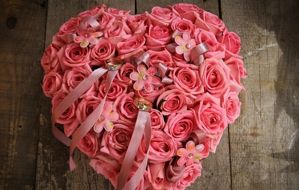 Picture flower, love, flowers, heart, roses, ring, pink, buds, beautiful, composition