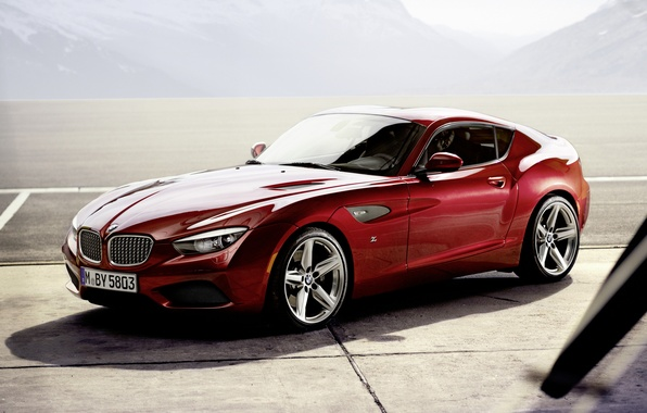 Picture mountains, red, coupe, shadow, BMW, BMW, Coupe, the front, Zagato, Zagato
