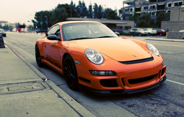 Picture photo, Parking, Parking, Orange, gt3, porshe, cars, auto, wallpapers, parking, city, Photography, porshe gt3 rs