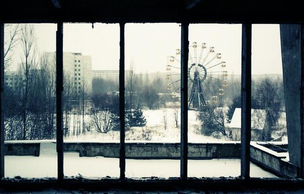 Picture snow, trees, home, window, carousel, Pripyat, area