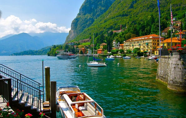 Picture forest, mountains, nature, lake, home, yacht, boat, Italy, Italy, architecture., Como, Como