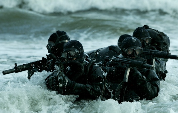 Picture sea, wave, weapons, group, mask, combat, machines, Marine special forces, swimmers, scuba