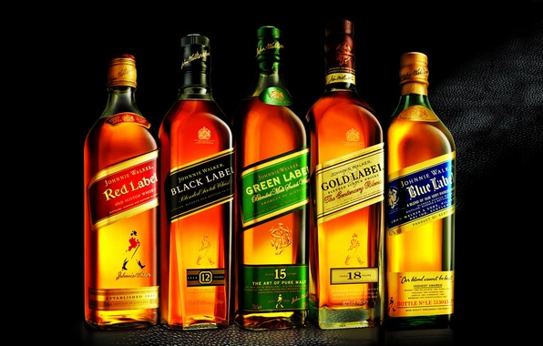 Picture Wallpaper, bottle, whiskey, wallpapers, collection, 1920x1080, gold label, red label, blue label, green label, johnny …