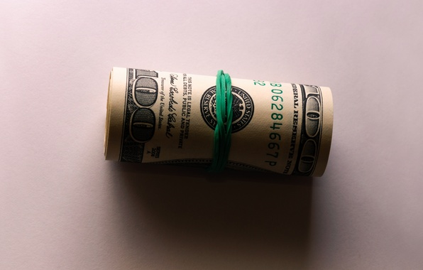 Picture green, white, photography, wallpapers, one, money, dollar, 100, Franklin, Yelunin Roman, rubber band, evergreen, hundred
