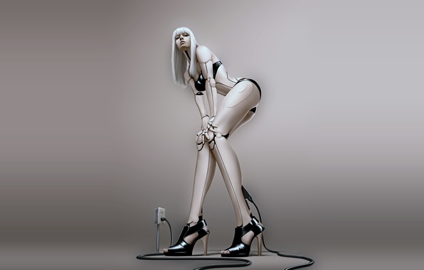 Picture girl, robot, cyborg