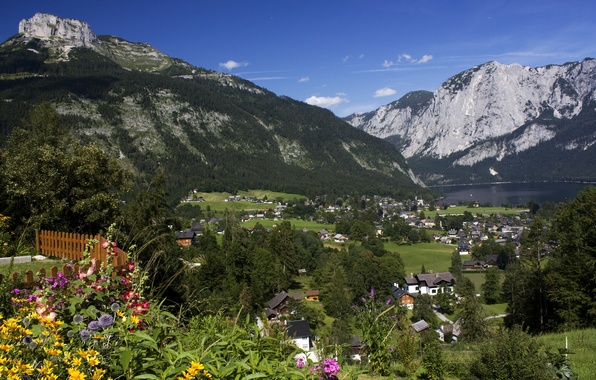 Picture grass, trees, flowers, mountains, lake, home, Austria, village, Altaussee, Styria