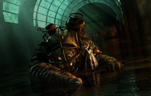 Picture Water, The suit, Girl, BioShock