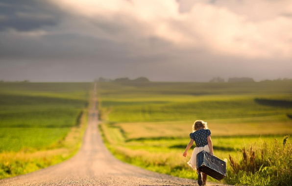 Picture road, the way, space, girl, suitcase, bokeh