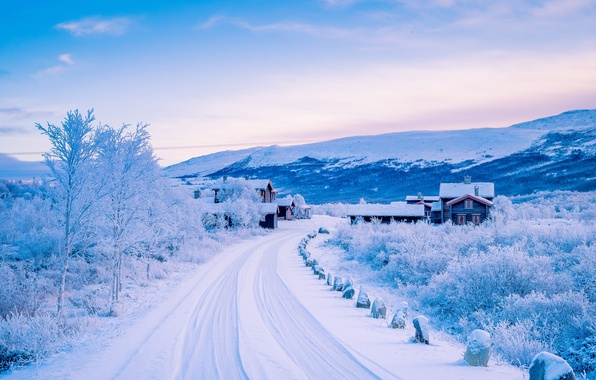 Picture winter, road, snow, mountains, village, Norway, houses, Norway, The Scandinavian mountains, Dover, Dovre, Scandinavian Mountains