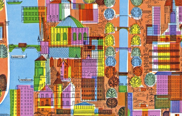 Picture trees, the city, figure, home, fabric, canvas, street