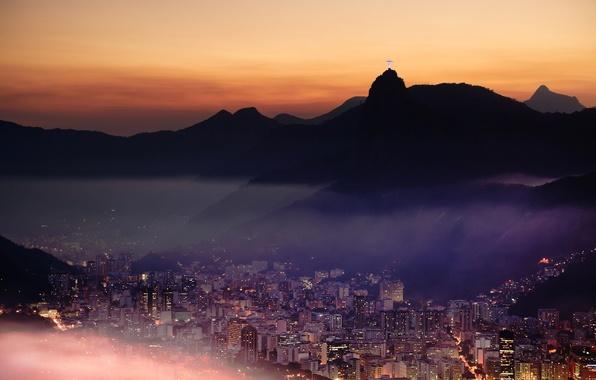 Picture mountains, the city, lights, Rio de Janeiro, Rio de Janeiro