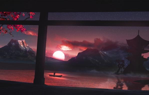 Picture the sun, sunset, mountains, cherry, lake, house, boat, Japan, people, Sakura