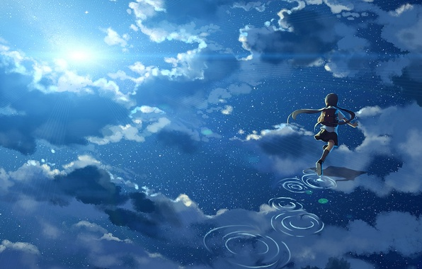Picture the sky, water, girl, the sun, clouds, reflection, anime, art, form, schoolgirl, hanyijie