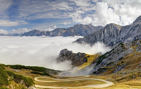 Picture road, the sky, clouds, trees, mountains, the slopes, tops, Germany, Bayern, Alps
