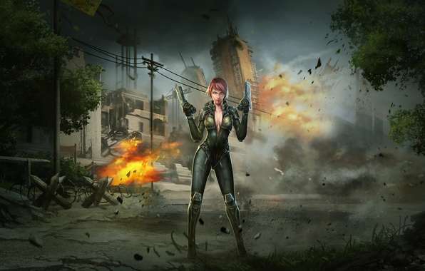 Picture girl, the explosion, the city, war, guns, art, soldiers, special forces